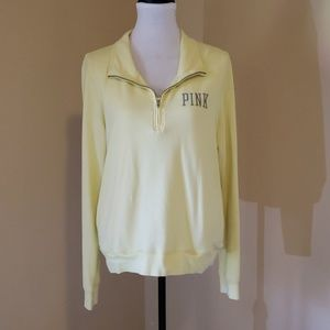 VS PINK yellow track style sweatshirt